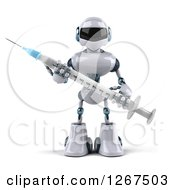 Clipart Of A 3d White And Blue Robot Holding A Vaccine Syringe Royalty Free Illustration