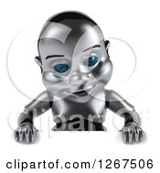 Clipart Of A 3d Metal Baby Robot Looking Down Over A Sign Royalty Free Illustration by Julos