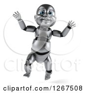 Clipart Of A 3d Metal Baby Robot Jumping Royalty Free Illustration by Julos