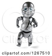 Clipart Of A 3d Metal Baby Robot Running Royalty Free Illustration by Julos