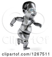 Clipart Of A 3d Metal Baby Robot Running To The Right Royalty Free Illustration by Julos