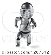 Clipart Of A 3d Metal Baby Robot Running Forward Royalty Free Illustration by Julos