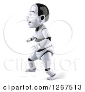 Clipart Of A 3d Happy Baby Robot Walking Royalty Free Illustration by Julos