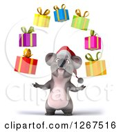 Clipart Of A 3d Christmas Koala Juggling Gifts Royalty Free Illustration