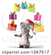 Clipart Of A 3d Christmas Koala Juggling Presents Royalty Free Illustration