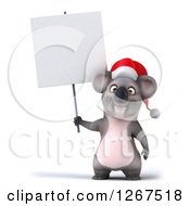 Clipart Of A 3d Christmas Koala Standing With A Blank Sign Royalty Free Illustration