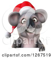 Clipart Of A 3d Christmas Koala Holding A Thumb Up Over A Sign Royalty Free Illustration