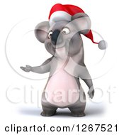 Clipart Of A 3d Christmas Koala Presenting To The Left Royalty Free Illustration