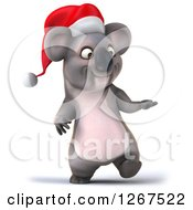 Clipart Of A 3d Christmas Koala Walking And Presenting To The Right Royalty Free Illustration