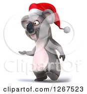 Clipart Of A 3d Christmas Koala Walking And Presenting To The Left Royalty Free Illustration