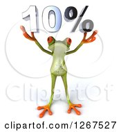 3d Green Springer Frog Holding 10 Percent Over His Head