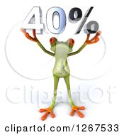 Clipart Of A 3d Green Springer Frog Holding 40 Percent Over His Head Royalty Free Illustration by Julos