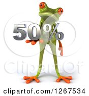 3d Green Springer Frog Holding 50 Percent In His Hand