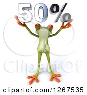 3d Green Springer Frog Holding 50 Percent Over His Head