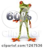 3d Green Springer Frog Holding 60 Percent In His Hand