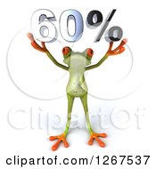 Clipart Of A 3d Green Springer Frog Holding 60 Percent Over His Head Royalty Free Illustration by Julos