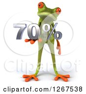 3d Green Springer Frog Holding 70 Percent In His Hand