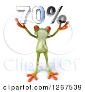 Clipart Of A 3d Green Springer Frog Holding 70 Percent Over His Head Royalty Free Illustration by Julos
