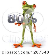 3d Green Springer Frog Holding 80 Percent In His Hand