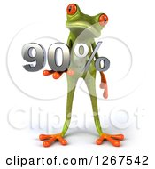 Clipart Of A 3d Green Springer Frog Holding 90 Percent In His Hand Royalty Free Illustration by Julos