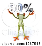 3d Green Springer Frog Holding 90 Percent Over His Head