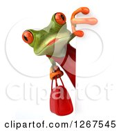 3d Green Female Springer Frog Holding A Purse Around A Sign