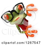 3d Green Female Springer Frog Wearing Glasses Around A Sign