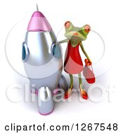 3d Green Female Frog By A Rocket