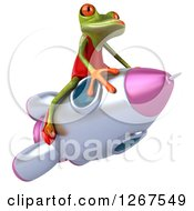 3d Green Female Frog Riding A Rocket