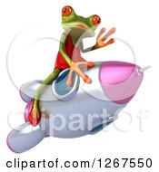 3d Green Female Frog Waving And Flying On A Rocket
