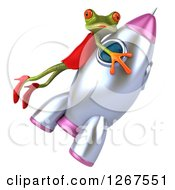 3d Green Female Frog Flying On A Rocket