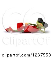 3d Female Springer Frog Wearing Sunglasses Holding A Purse And Resting