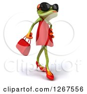 3d Female Springer Frog Wearing Sunglasses And Walking In A Dress