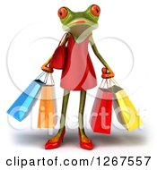 3d Green Female Springer Frog Carrying Shopping Bags