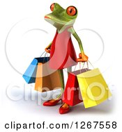 3d Green Female Springer Frog With Shopping Bags