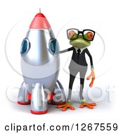 Clipart Of A 3d Business Green Springer Frog Wearing Sunglasses And Standing By A Rocket Royalty Free Illustration