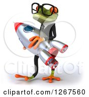 Clipart Of A 3d Bespectacled Business Green Springer Frog Carrying A Rocket Royalty Free Illustration