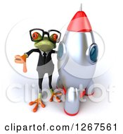 Clipart Of A 3d Bespectacled Business Green Springer Frog Holding A Thumb Down By A Rocket Royalty Free Illustration