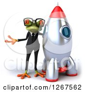 Clipart Of A 3d Bespectacled Business Green Springer Frog Presenting By A Rocket Royalty Free Illustration