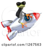 Clipart Of A 3d Business Green Springer Frog Wearing Sunglasses And Riding A Rocket Royalty Free Illustration
