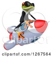 Clipart Of A 3d Business Green Springer Frog Wearing Sunglasses And Flying A Rocket Royalty Free Illustration