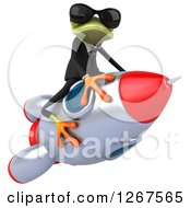 Clipart Of A 3d Business Green Springer Frog Wearing Sunglasses And Stradling A Rocket Royalty Free Illustration
