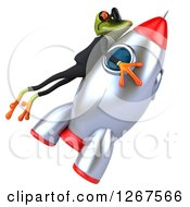 Clipart Of A 3d Business Green Springer Frog Wearing Sunglasses And Holding On To A Rocket Royalty Free Illustration