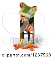 Clipart Of A 3d Green Business Springer Frog Sitting And Thinking In A Chair Royalty Free Illustration