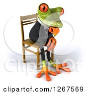 Clipart Of A 3d Green Business Springer Frog Sitting And Thinking In A Chair Facing Right Royalty Free Illustration
