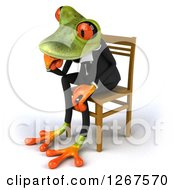 Clipart Of A 3d Green Business Springer Frog Sitting And Thinking In A Chair Facing Left Royalty Free Illustration