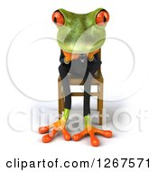 Clipart Of A 3d Green Business Springer Frog Sitting And Thinking In A Chair Facing Front Royalty Free Illustration