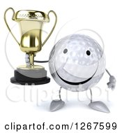 Clipart Of A 3d Happy Golf Ball Character Holding A Trophy Royalty Free Illustration