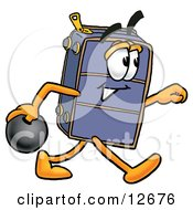 Clipart Picture Of A Suitcase Cartoon Character Holding A Bowling Ball