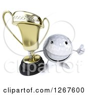 Clipart Of A 3d Happy Golf Ball Character Holding A Thumb Up And A Trophy Royalty Free Illustration